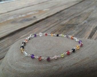 Sterling Silver and Multi Gemstone Bracelet- Stackable Bracelet