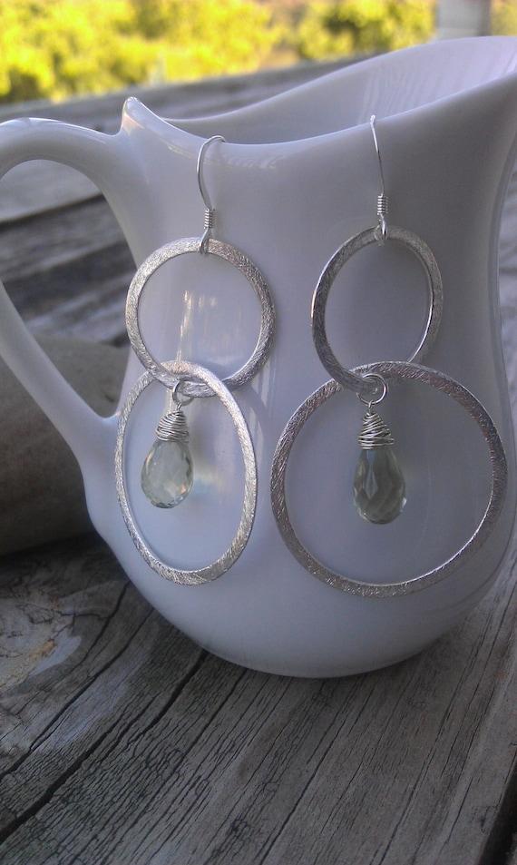 Sterling Silver and Green Amethyst Hoop Earrings, Double Hoop/Circle Earrings
