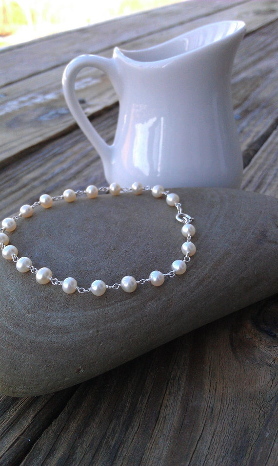 Simple Sterling Silver and Pearl Bracelet - Stackable