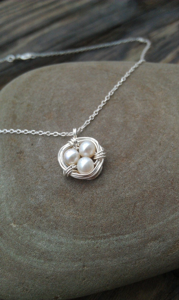 Small Sterling Silver Birds Nest Necklace with Pearls