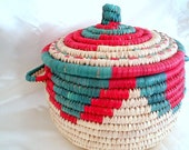Berber Covered Basket Large Woven Basketry Reed Tribal Folkart Organic Papyrus