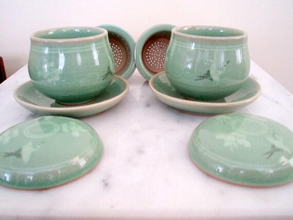Beautiful Rustic Celadon Teaware Loose Leaf Tea Cup Set Lidded