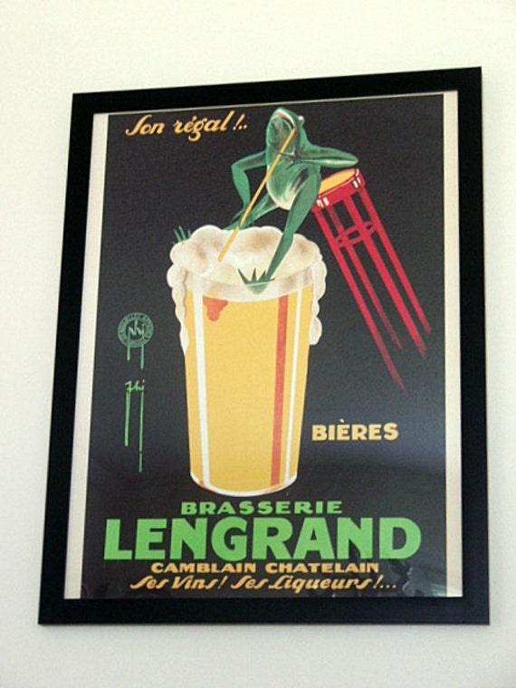 RESERVED FOR CHRIS H. French Brasserie Beer Poster French Bistro Sign Pub Food and Beverages Vintage Lengrand Framed Art print 26 x 20 in