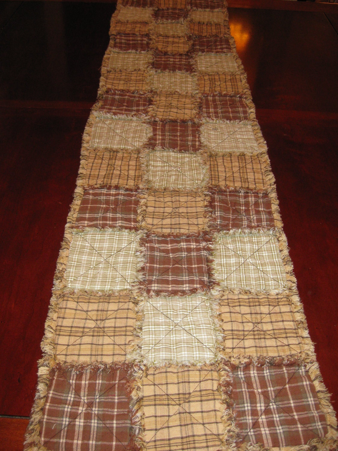 Primitive Rag Quilt Table Runner In Brown Country Tan Amp Cream