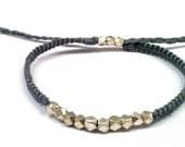 Macrame & Silver Nugget Bracelet