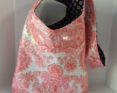 Cross Body Bag, Tote Sling in Amy Butler Sandlewood Laminated Fabric in Shades of Pink and Ivory and Zipper Cosmetic Bag