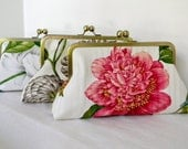 Bridal Party Clutch Floral for Special Occasion or Wedding Pink Brown White Set of 3