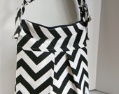 New Chevron Pleated bag Cross Body Shoulder bag - Black and White Available in many colors