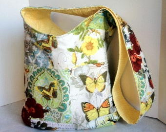 NEW Large Cross Body Bag Tote in Michael Miller French Journal Yellow Butterfly Birds Flowers