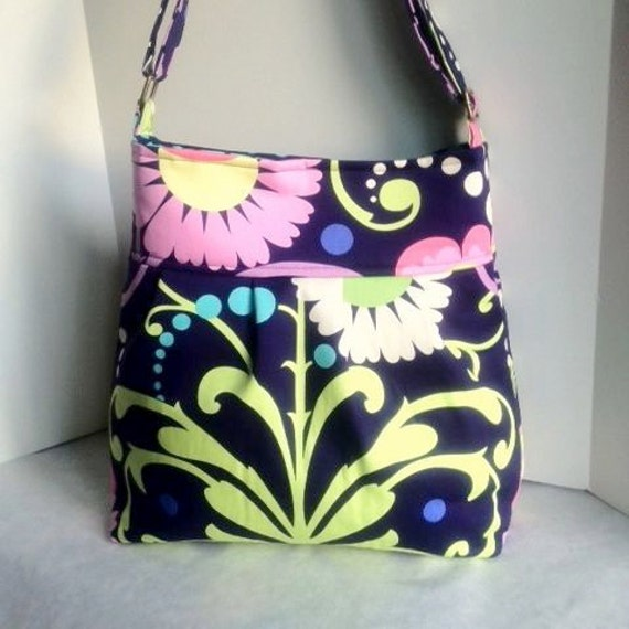 Cross Body Diaper Bag in Amy Butler, messenger style tote- Paradise Midnight and Sunspots from Amy Butler