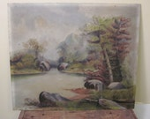 Serene Landscape, Antique Oil Painting, Zen, Autumn
