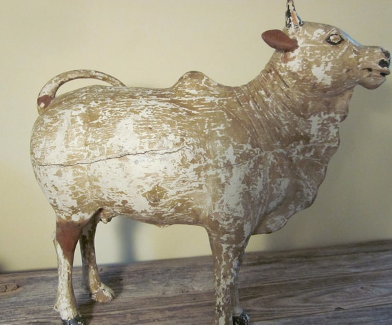Sacred Brahman Cow, Hand Carved Wood, Folk Art