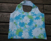 Clearance! Upcycled, Vintage sheet reversible Market Bag -Blue, green and white flowers
