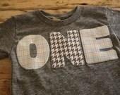 Light Grey and Blue Plaid and Houndstooth Shirt Birthday Tee Organic Shirt Blend first birthday shirt second third