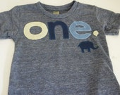 Elephant Birthday shirt theme light yellow navy chambray balloon