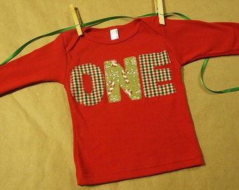 Holiday Shirt Organic Blend Christmas or Holiday Birthday Tee Winter Theme using Candy Cane Red and Green Checkered Print