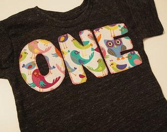 Owl and Bird Birthday Shirt Girls Birthday Tee long sleeve and short sleeve
