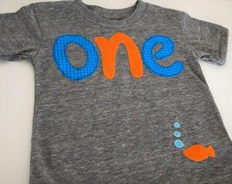Underwater birthday, Blue and Orange Goldfish Tshirt Birthday shirt Customize colors Boys Girls Organic Blend Birthday Tee first second