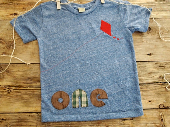 Birthday Tee with kite detail Organic Shirt Blend perfect for boys or girls first second third fourth birthday