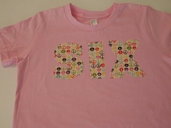 Peace Signs Shirt Girls Pink Shirt birthday shirt add name select color