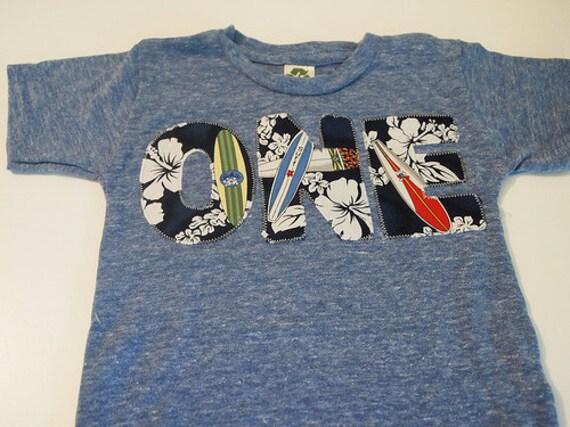 READY TO SHIP First Birthday Shirt in size 2T Surfboard Birthday Tee Organic Shirt Blend surfing waves beach theme Hawaiian