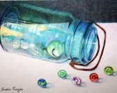 Original Colored Pencil Painting Colored Marbles By Susie Tenzer