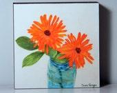 Art Painting Two Orange Flowers In A Blue Mason Jar