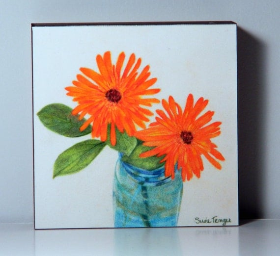 Art Painting Two Orange Flowers In A Blue Mason Jar