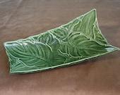 Mid-century modern green leaf motif tray