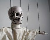 Vintage Halloween skeleton marionette in mad scientist lab coat, Hazelle
