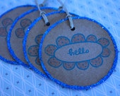 6 blue glitter Kraft Paper Hand Stamped 'hello' gift tags Printed with blue pigment ink and natural twine