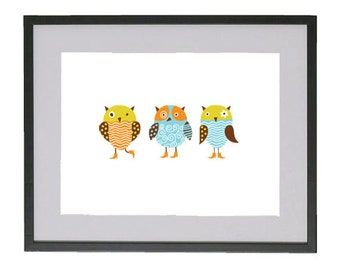Woodland owls art print wall decor for baby nursery. Perfect baby shower gift for a new mom!