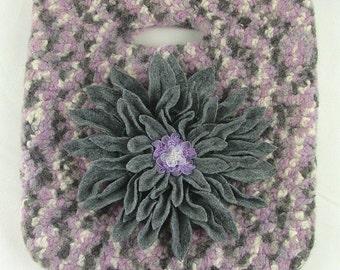 Felted Crochet Bag with Grey Felt Flower