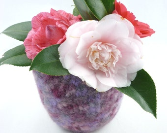 Felted Crocheted Bowl made from Lilac/Pink Merino wool