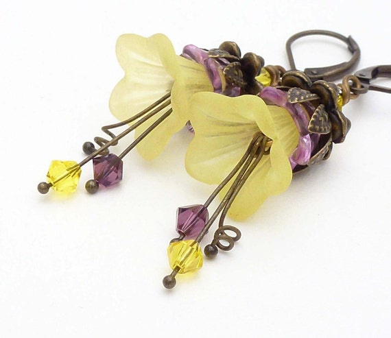 Yellow flower earrings, purple and yellow earrings, lucite flower spring jewelry