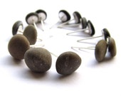 Zen Beach Pebble Earrings- Eco Friendly and Sustainable - Speckled Grey Studs