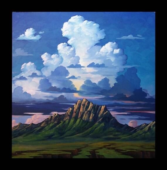 PACO   LARGE 30x30 Impressionist Oil Landscape Western Rocky Mountain Original Sky cloud Plein air Painting