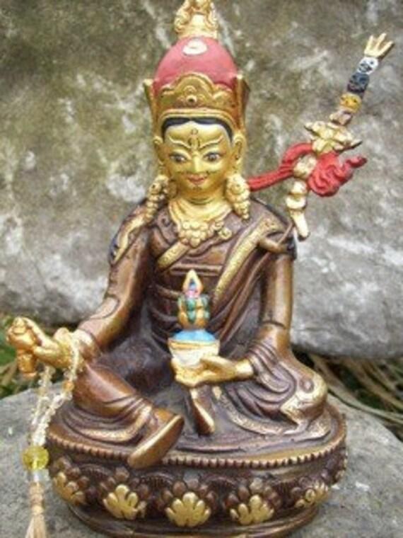 """Padmasambhava hand painted 6"""" Copper Buddha Statue"""