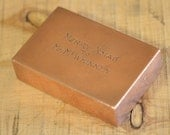 Solid Copper Bench Hammer Block Engraved Merry Xmas by Lostroadvintage