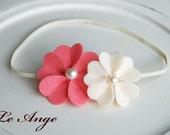 Buy 3,Get 1 Free-Felt Flower Headband - Double Hot pink & Ivory