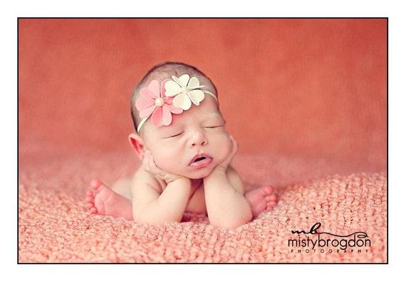 Felt Flower Headband - Double Hot pink & Ivory