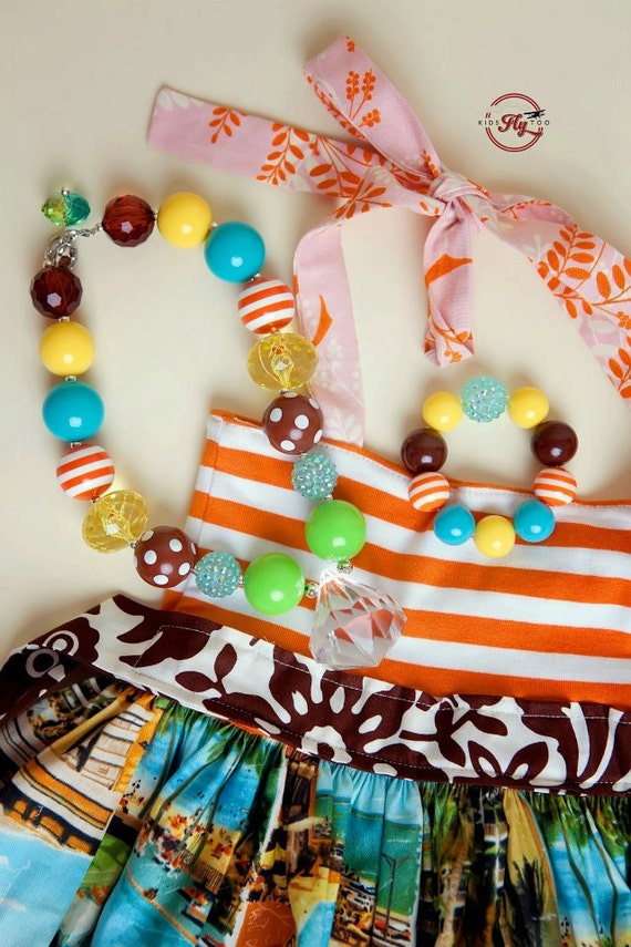 Florida Fashion Girls Necklace - Green, Turquoise, Brown, Yellow, Orange