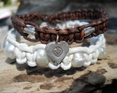 TWO Bracelets, Freshwater Pearl White Leather & Sterling Silver Brown Leather Bracelet