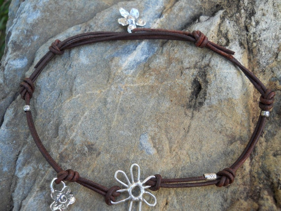 Artisan Sterling Silver Flower Power Rustic Brown Leather Anklet Adjustable