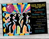 Cool Retro 70's Disco Birthday Invitation Adult or Child Digital File or Prints
