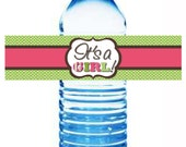 Water Bottle Labels Matching It's a Baby Girl Baby Shower