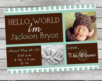 Mod Baby Boy Photo Announcement Turquoise and Brown Photo Digital File