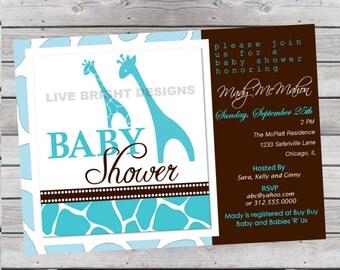Modern Wild Safari Boy Baby Shower Invitation Giraffe Print Aqua Turquoise Blue Digital File