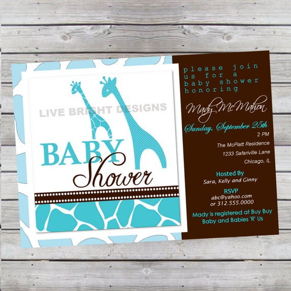 Modern Wild Safari Boy Baby Shower Invitation Giraffe Print Aqua Turquoise Blue Digital File