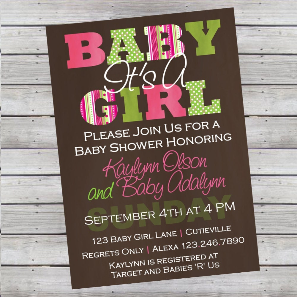 Modern Baby Shower Invitations: Modern It's A Girl Baby Shower Invitation By LiveBrightDesigns